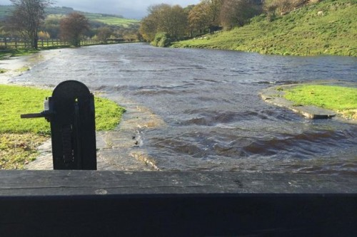 Flooded towpath in Linthwaite