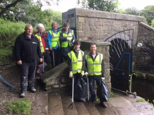 VOLUNTEERS: (Back L to R) Phil Smith, Canal & River Trust, Liz O'Driscoll, Glenise Eason, Barbara Barnes; (Front L to R) George Brooks and Mark Brook.