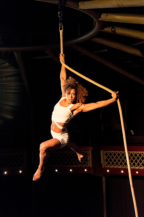 Upswing.jpg – Dazzling aerial silk performers who will be suspended from a crane high above the crowd